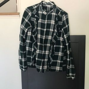 Tops - Green and white flannel top